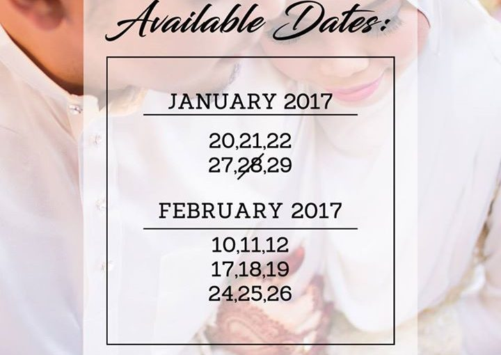 We Still Have Empty Slots In January & February 2017 Book